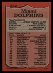 1987 Topps #232   Dolphins Leaders Back Thumbnail