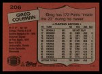 1987 Topps #206  Greg Coleman  Back Thumbnail