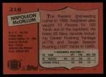 1987 Topps #216  Napoleon McCallum  Back Thumbnail