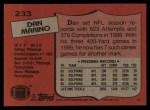 1987 Topps #233  Dan Marino  Back Thumbnail