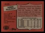 1987 Topps #225  Vann McElroy  Back Thumbnail