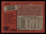 1987 Topps #226  Fulton Walker  Back Thumbnail