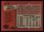 1987 Topps #273  Dave Wilson  Back Thumbnail
