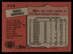 1987 Topps #224  Mike Haynes  Back Thumbnail
