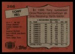 1987 Topps #266  Tony Hill  Back Thumbnail