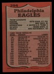 1987 Topps #294   Eagles Leaders Back Thumbnail
