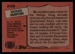 1987 Topps #208  Doug Martin  Back Thumbnail