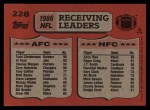 1987 Topps #228   -  Jerry Rice / Todd Christensen Receiving Leaders Back Thumbnail