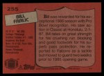1987 Topps #255  Bill Fralic  Back Thumbnail