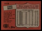 1987 Topps #219  Chris Bahr  Back Thumbnail