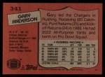 1987 Topps #341   -  Gary Anderson Record Breaker Back Thumbnail