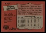 1987 Topps #330  Stump Mitchell  Back Thumbnail