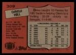 1987 Topps #309  Drew Hill  Back Thumbnail