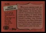 1987 Topps #326  Keith Ferguson  Back Thumbnail