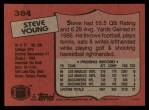 1987 Topps #384  Steve Young  Back Thumbnail