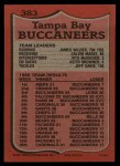 1987 Topps #383   Buccaneers Leaders Back Thumbnail