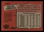 1987 Topps #343  Kellen Winslow  Back Thumbnail