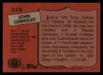 1987 Topps #315  John Grimsley  Back Thumbnail