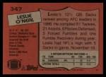 1987 Topps #347  Leslie O'Neal  Back Thumbnail