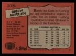 1987 Topps #375  Randy McMillan  Back Thumbnail