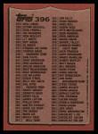1987 Topps #396   Checklist 265-396 Back Thumbnail