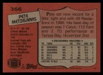 1987 Topps #366  Pete Metzelaars  Back Thumbnail