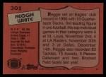 1987 Topps #301  Reggie White  Back Thumbnail
