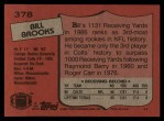 1987 Topps #378  Bill Brooks  Back Thumbnail
