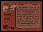 1987 Topps #381  Ray Donaldson  Back Thumbnail