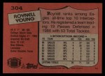 1987 Topps #304  Roynell Young  Back Thumbnail