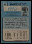 1988 Topps #28  Clarence Kay  Back Thumbnail