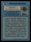 1988 Topps #48  Dwaine Board  Back Thumbnail