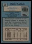 1988 Topps #29  Rich Karlis  Back Thumbnail