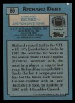 1988 Topps #80  Richard Dent  Back Thumbnail