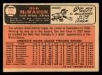1966 Topps #133  Don McMahon  Back Thumbnail