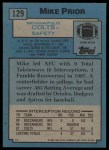 1988 Topps #129  Mike Prior  Back Thumbnail