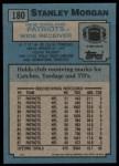 1988 Topps #180  Stanley Morgan  Back Thumbnail