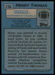 1988 Topps #156  Henry Thomas  Back Thumbnail