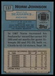 1988 Topps #137  Norm Johnson  Back Thumbnail
