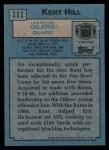 1988 Topps #111  Kent Hill  Back Thumbnail
