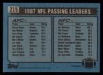1988 Topps #215   -  Joe Montana / Bernie Kosar Passing Leaders Back Thumbnail