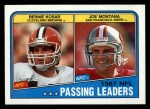 1988 Topps #215   -  Joe Montana / Bernie Kosar Passing Leaders Front Thumbnail