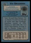 1988 Topps #252  Vai Sikahema  Back Thumbnail