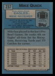 1988 Topps #237  Mike Quick  Back Thumbnail