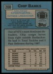 1988 Topps #208  Chip Banks  Back Thumbnail
