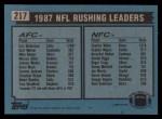 1988 Topps #217   -  Eric Dickerson / Charles White Rushing Leaders Back Thumbnail