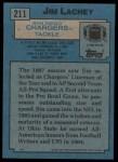 1988 Topps #211  Jim Lachey  Back Thumbnail