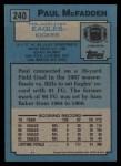 1988 Topps #240  Paul McFadden  Back Thumbnail