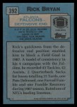 1988 Topps #392  Rick Bryan  Back Thumbnail