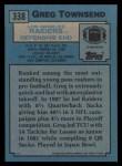 1988 Topps #338  Greg Townsend  Back Thumbnail